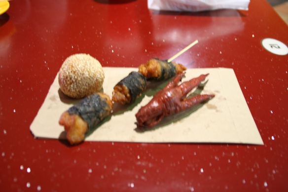 I also had a peanut green tea sesame ball and seaweed-wrapped chicken, but that wasn't as exciting