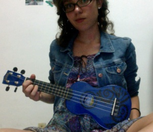With added designs because regular blue ukuleles are too mainstream