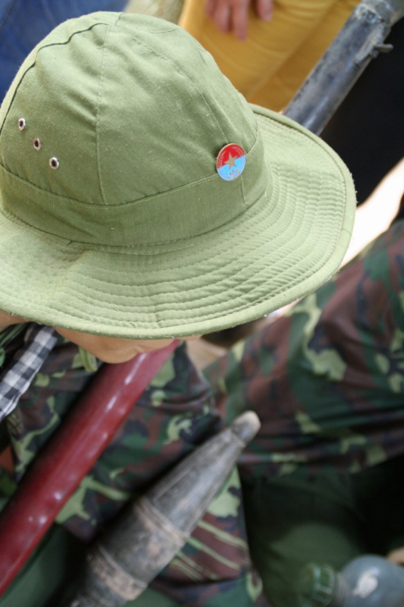 The Vietnamese Army (who opposed the Vietcong) wore pins with blue and red to represent capitalism and communism respectively. Now, the flag is all red.